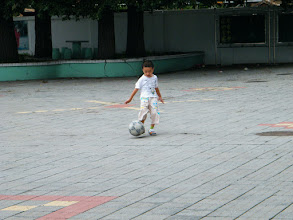 Photo: baby son, warrenzh, 朱楚甲 played soccor.