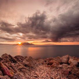 by Zoran Stegnjaić - Landscapes Sunsets & Sunrises ( landscapes, seascape, rocks, sunset, sunsets, clouds, sun, sea, landscape )