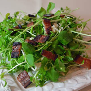 Pea Shoot Salad with Crispy Bacon and Blue Cheese.