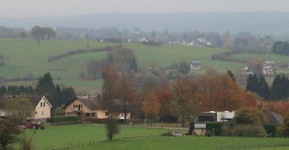 Photo: Eglise d' Amblève (?) à l'horizon
