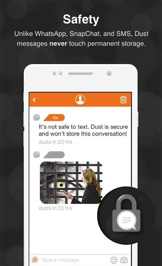 Dust - a safer place to text- screenshot
