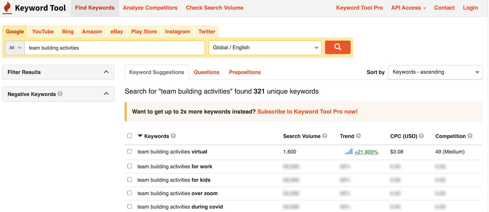 Keywordtool.io keyword search result page