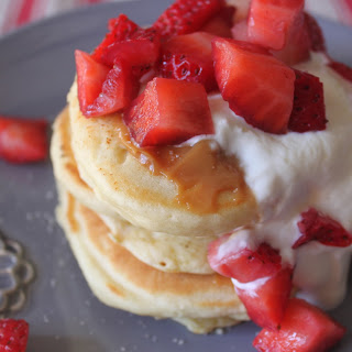 Strawberry Buttermilk Pancakes with Dulce de Leche and Greek Yogurt