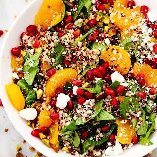 Winter Pomegranate Orange Quinoa Salad with Creamy Lemon Greek Yogurt Dressing.