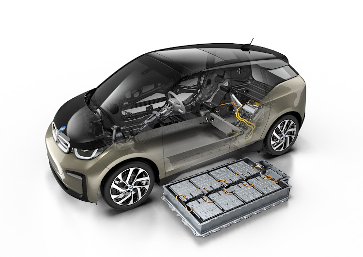 A cutaway of the electric BMW i3 with its underfloor battery pack removed.