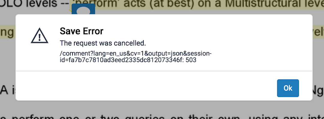 Turnitin Feedback Studio error message 3.