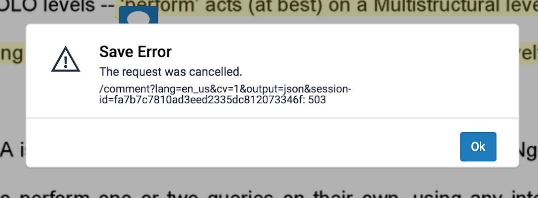 Turnitin Feedback Studio error message 3.