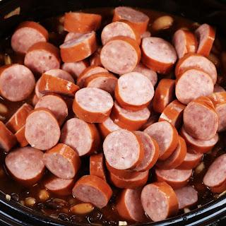Slow Cooker Kielbasa and BBQ Beans.