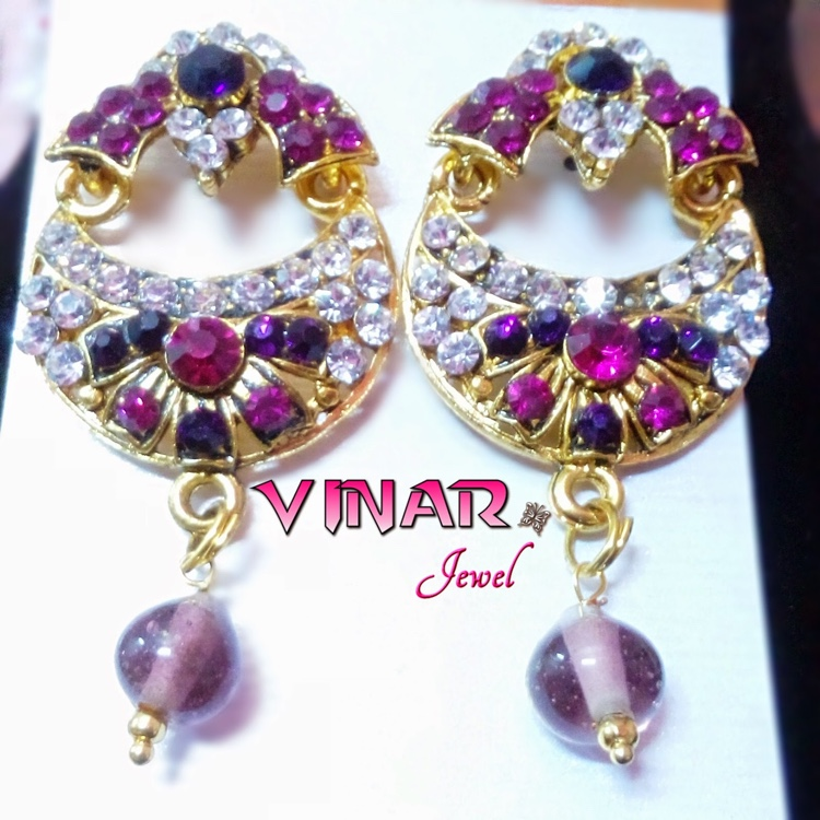 Kundan Gold Covered with Pink, Purple & White Stone by Vinar Jewel