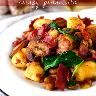 Gnocchi with Spinach, Mushrooms and Crispy Prosciutto