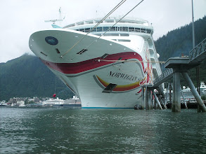 Photo: A cruise ship at dock in Juneau harbor.
