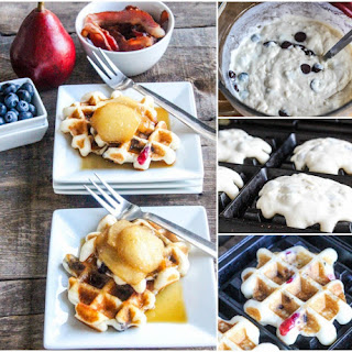 Baked Pears, Bacon & Chocolate Chip Waffles