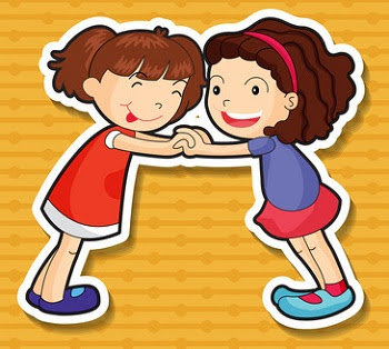 Two sticker girls playing and holding hands