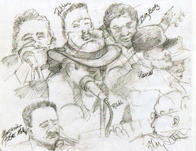 Photo: Musicians at the first Hayward Blues Festival. All sets were played indoors at Buffalo Bill's Brew Pub 'B' Street, Hayward. Drawing is a composite done over a number of hours.