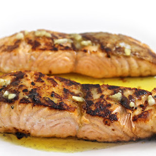 Honey Glazed Salmon with Lemon Butter Sauce.