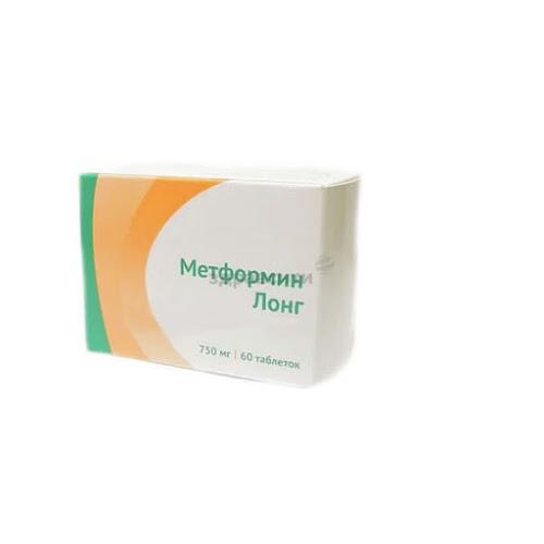 Метформин лонг таб. пролонг высвоб. 750 мг 60 шт.