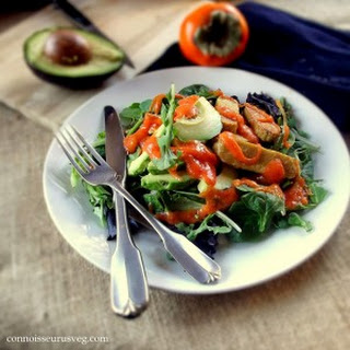 Tempeh Avocado Salad with Persimmon Dressing