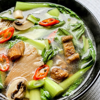 Hot and Sour Mushroom Soup With Bok Choy [Vegan, Gluten-Free].