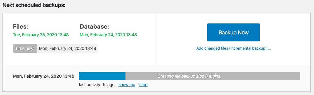 Scheduled WordPress backup