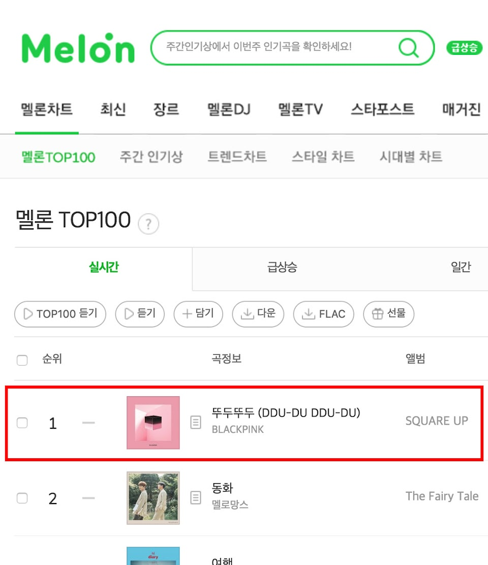 blackpink melon chart 2018