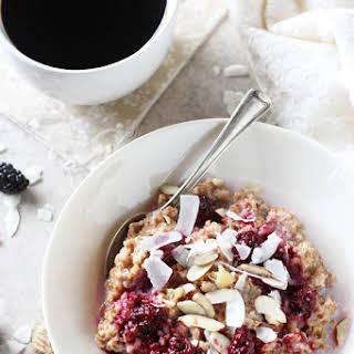 Blackberry Coconut Bulgur Breakfast Bowl.