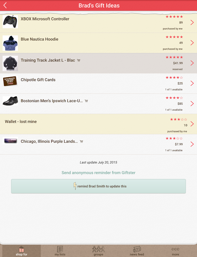 Giftster - Wish List Registry- screenshot