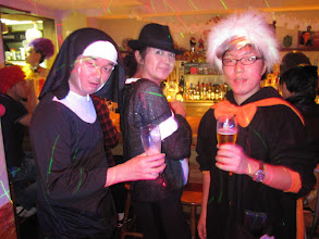Photo: A Nun, Michael Jackson (Shino) & Doc at Ola Tacos Bar, in Shinsaibashi, Osaka  Taken at Ola Tacos Bar (http://homepage2.nifty.com/olatacos/) Taken by Be & Me (http://www2.gol.com/users/be-n-me/)