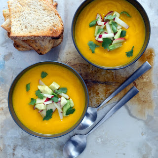 CARROT, GINGER + LIME SOUP WITH RADISH, APPLE + CILANTRO