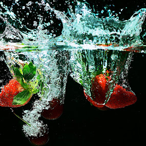 Strawberries and Cherries by Samson Calma - Food & Drink Fruits & Vegetables ( water, cherry, splash, strawberry, water splash,  )