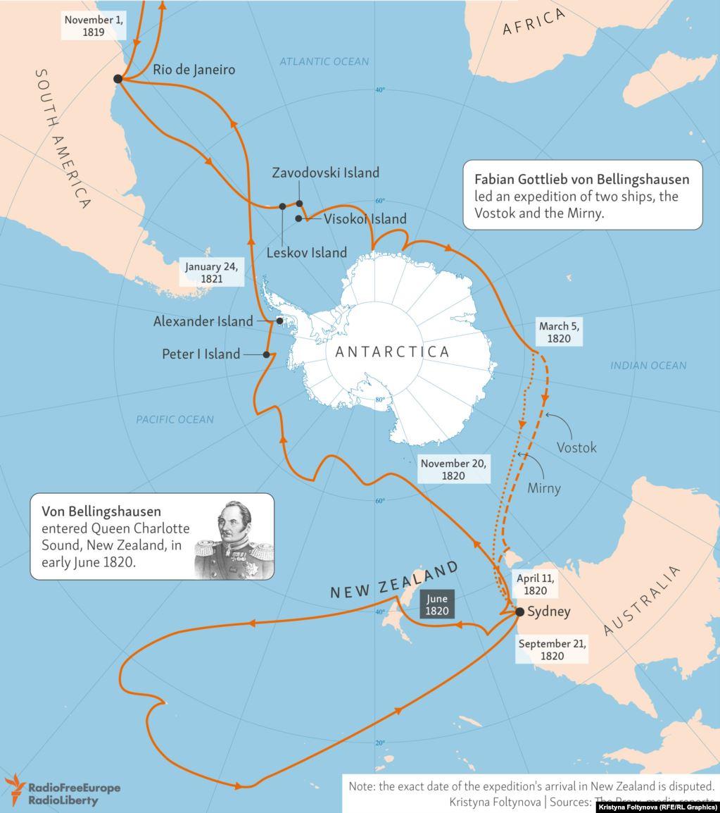 Маршрут экспедиции двух российских кораблей.