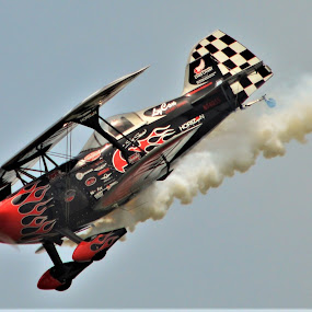 Smoking on the way down by Benito Flores Jr - Transportation Airplanes ( air show, diving, pilot, performer, texas,  )