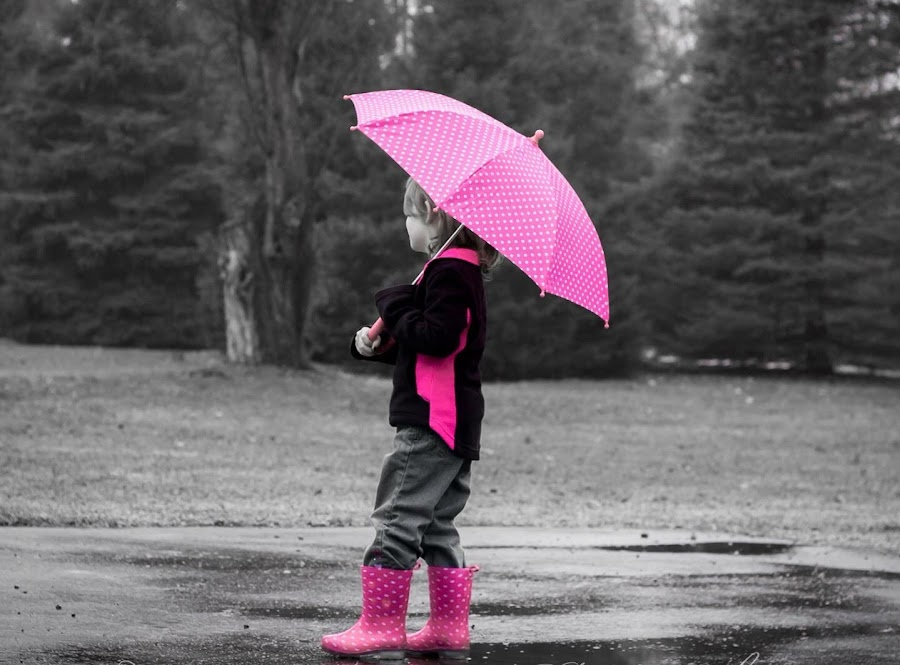 Puddles and pink by Colleen Nichols - Babies & Children Children Candids ( girl, umbrella, pink, boots, rain,  )