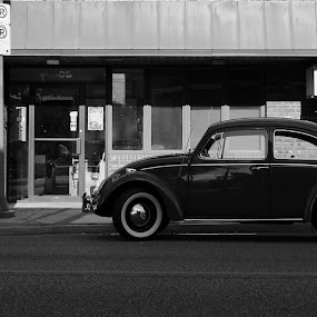 Classic VW by Jesse Hebert - Transportation Automobiles ( car, old, fashion, 1920, black and white, beautiful, street, main street, curves, city, volkswagen, 20's, vw, style, swingers, classic, swinger )