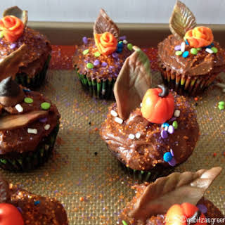 Easy Chocolate Cupcakes with Rum Chocolate Ganache Frosting.