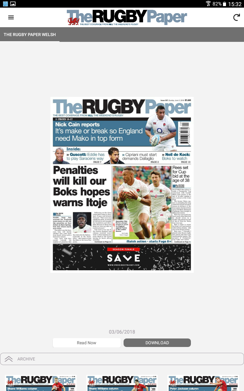 Скриншот The Rugby Paper, Welsh Edition