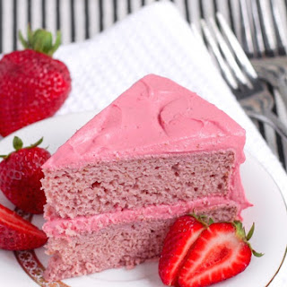 Healthy Strawberry Cake with Strawberry Frosting.