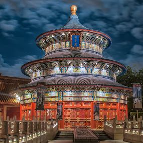 Chinese Temple at EPCOT, Disney World by Lynn Wiezycki - Buildings & Architecture Other Exteriors ( epcot, disney )