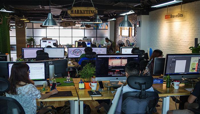thiết kế văn phòng làm việc xu hướng công nghệ hóa hiện đại hóa