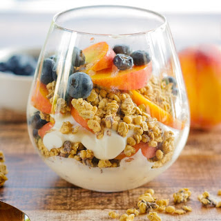 Granola Parfaits with Peaches & Blueberries.