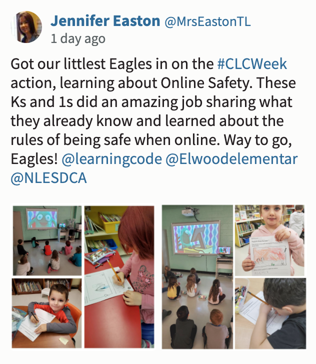 "Screenshot of CLC tweet saying: ""Got our littlest Eagles in on the #CLCWeek action, learning about Online Safety. These Ks and 1s did an amazing job sharing what they already know and learned about the rules of being safe when online. Way to go, Eagles! """