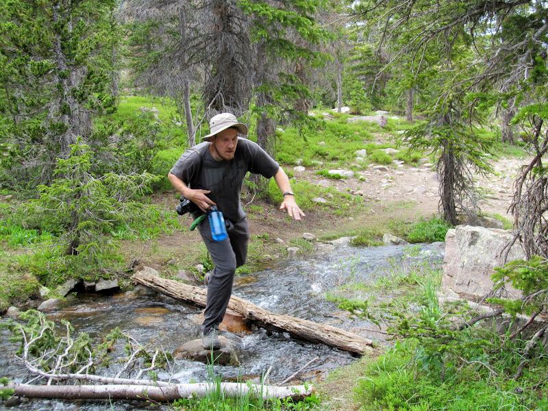 Photo: Hopping across a stream