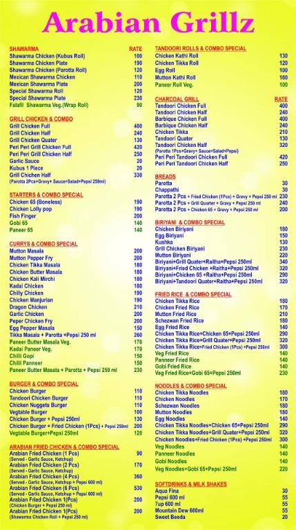 Arabian Grillz menu 1
