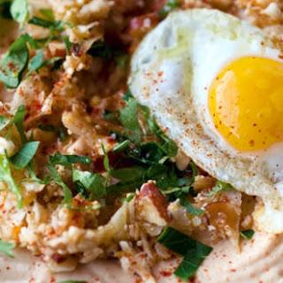 Celeriac Purée with Spiced Cauliflower and Quail's Eggs