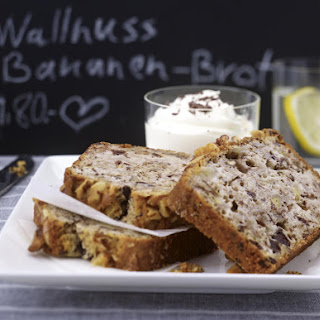 Walnut Banana Bread With Chocolate Chips.