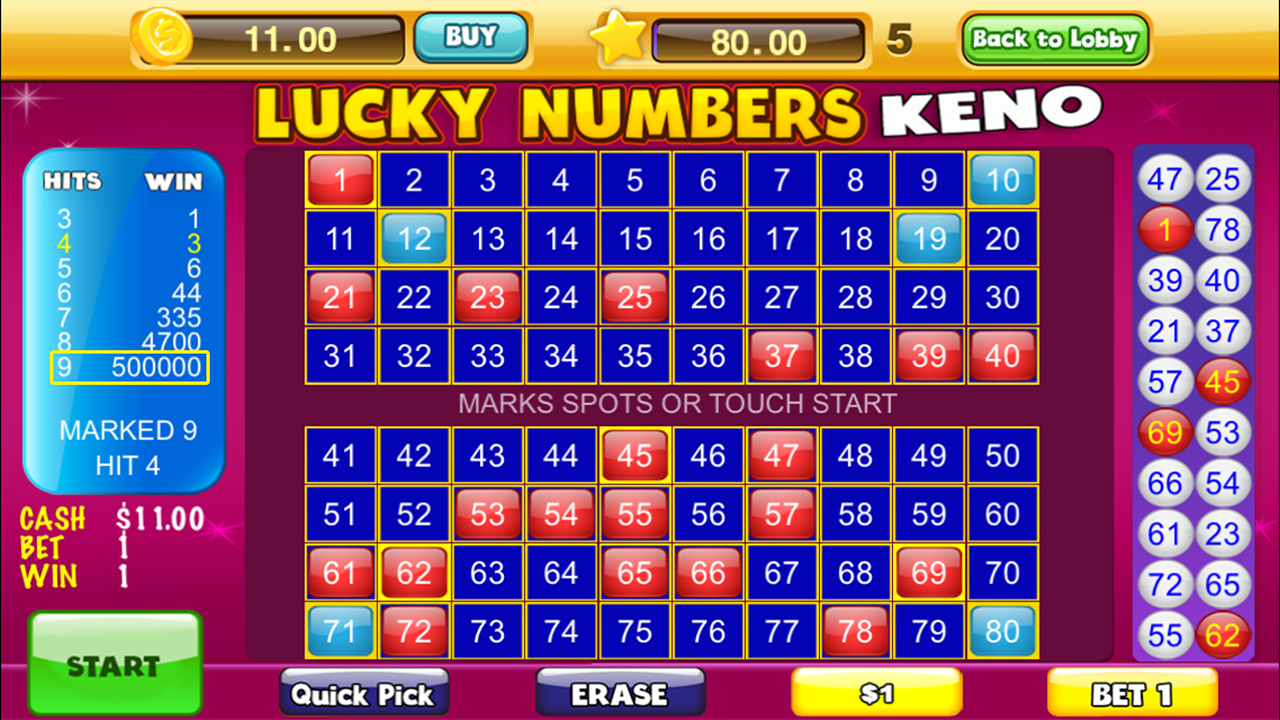 Lucky Keno Numbers KenoGames- screenshot