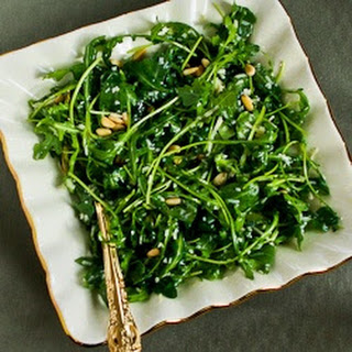 Kalyn's Favorite Baby Arugula Salad with Lemon, Balsamic Vinegar, Parmesan, and Pine Nuts