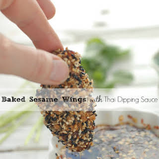 Baked Sesame Wings with Thai Dipping Sauce.