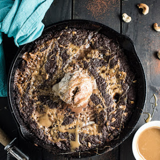 Salted Caramel Vegan Skillet Brownie