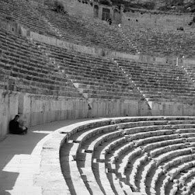 Roman Theater by Anthony Schwab - People Street & Candids ( amman, black and white, jordan, theater, roman )