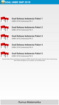Soal UNBK SMP 2017/2018 - screenshot